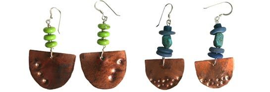 Really pretty earrings made from an old copper boiler